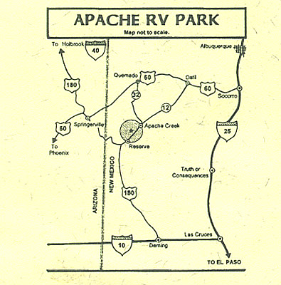 Map to Apache RV Park and Campground, western New Mexico, USA